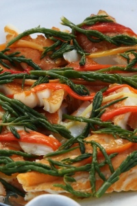 Smoked Pollock with Roast Peppers and Marsh or Rock Samphire (1)